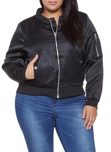 Plus Size Satin Bomber Jacket,BLACK,large