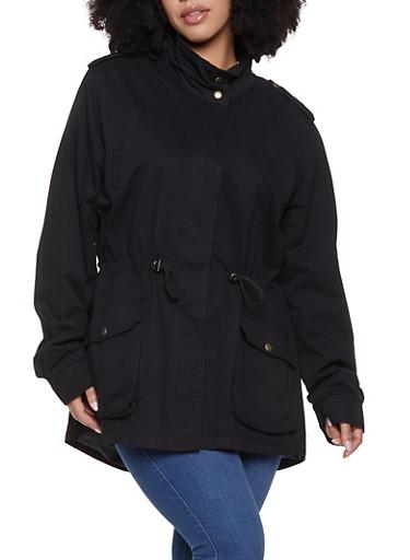 Plus Size Twill Anorak Jacket,BLACK,large