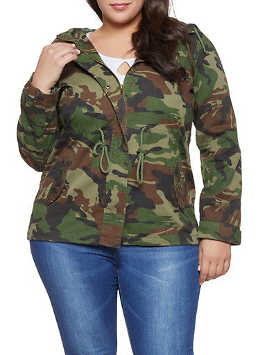 Plus Size Camo Anorak Jacket,OLIVE,large