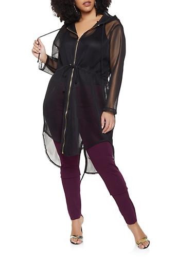 Plus Size Zip Up Hooded Mesh Coat,BLACK,large