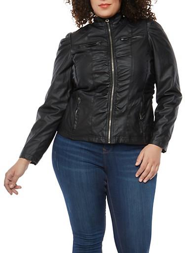 Plus Size Ruched Faux Leather Moto Jacket,BLACK,large