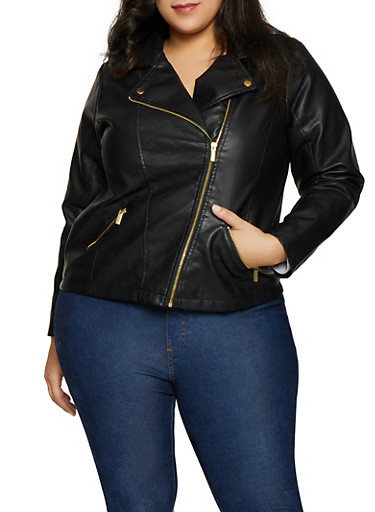 Plus Size Asymmetrical Faux Leather Moto Jacket,BLACK,large