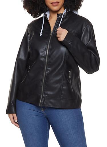 Plus Size Hooded Faux Leather Moto Jacket,BLACK,large