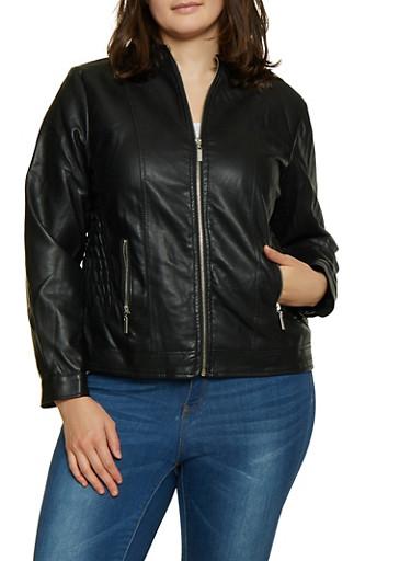 Plus Size Faux Leather Smocked Waist Jacket,BLACK,large