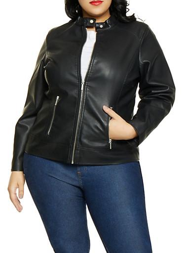 Plus Size Zip Pocket Moto Jacket,BLACK,large