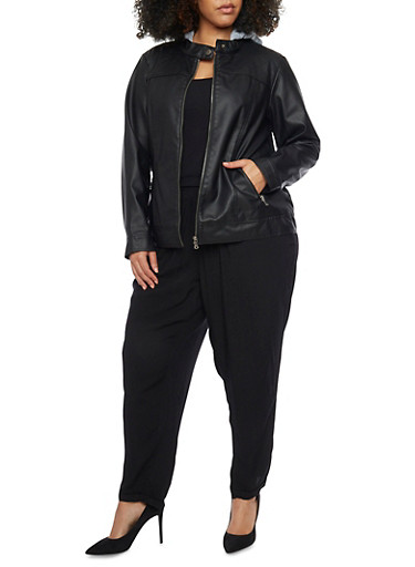 Plus Size Fleece Hooded Faux Leather Moto Jacket,BLACK,large