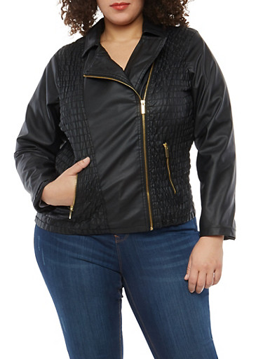 Plus Size Ruched Front Faux Leather Moto Jacket,BLACK,large