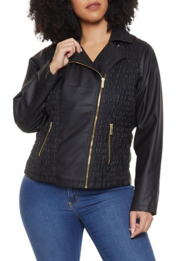 Plus Size Ruched Faux Leather Moto Jacket,BLACK,large