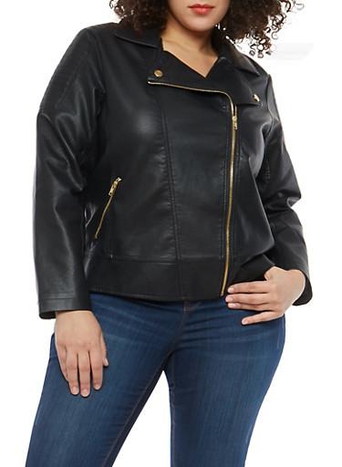Plus Size Faux Leather Moto Jacket,BLACK,large