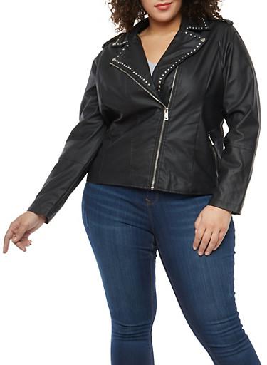 Plus Size Studded Trim Faux Leather Moto Jacket,BLACK,large