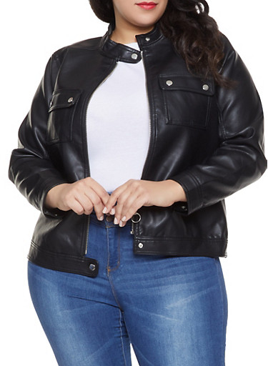 2f8820ce718 Plus Size Faux Leather Moto Jacket