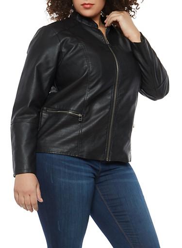 Plus Size Stitch Detail Faux Leather Jacket,BLACK,large