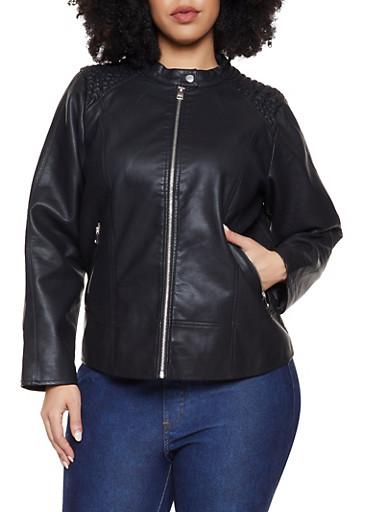 Plus Size Smocked Shoulder Moto Jacket,BLACK,large
