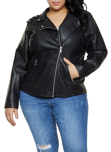 Plus Size Faux Leather Moto Jacket | 1887051067153,BLACK,large