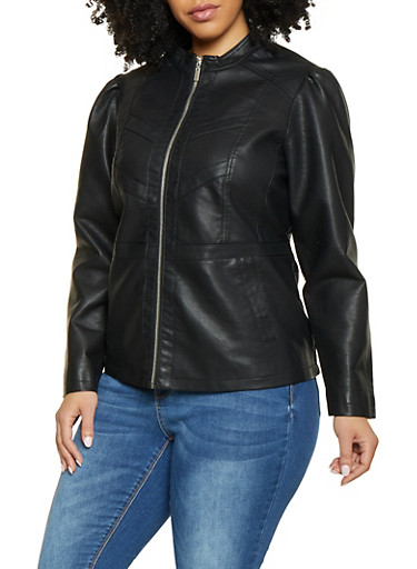 Plus Size Faux Leather Jacket | 1887051067219,BLACK,large