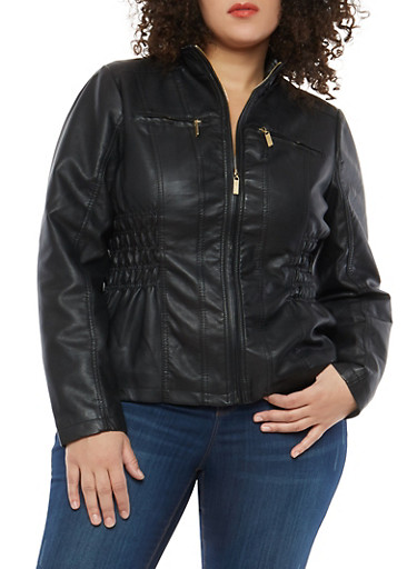 Plus Size Ruched Side Faux Leather Jacket,BLACK,large