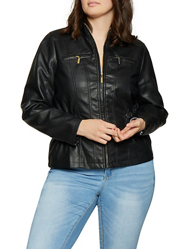 Plus Size Ruched Moto Jacket,BLACK,large
