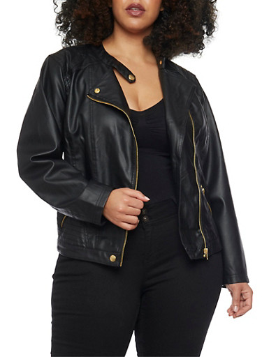Plus Size Moto Jacket with Quilted Detail,BLACK,large