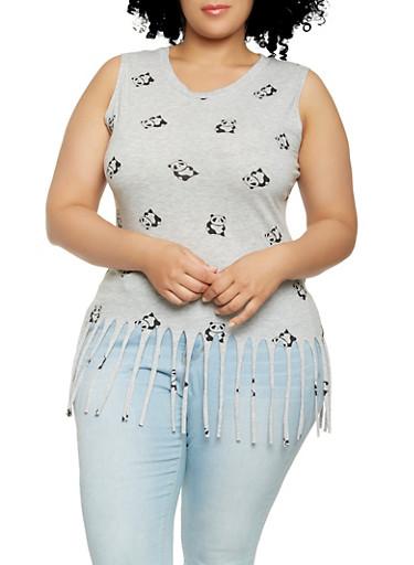 Plus Size Panda Print Fringe Tank Top,GRAY,large