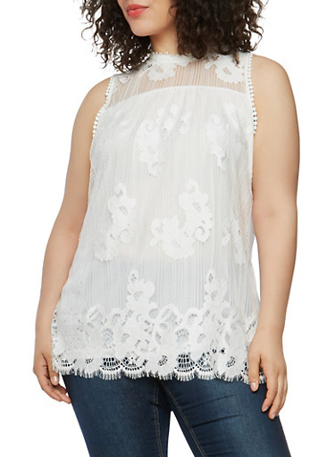 Plus Size Crochet Lace Top | Tuggl