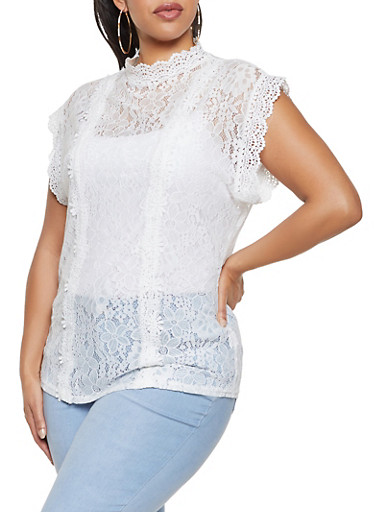 Plus Size Crochet Detail Lace Mock Neck Top,WHITE,large