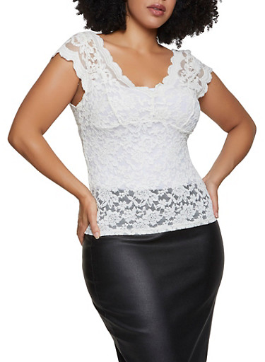 Plus Size Sheer Lace Cap Sleeve Top,WHITE,large