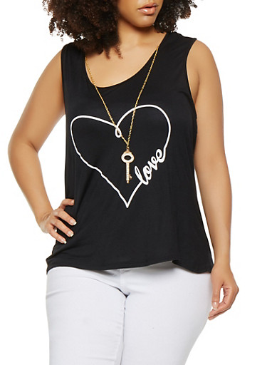 Plus Size Love Graphic Tank Top with Necklace,BLACK,large
