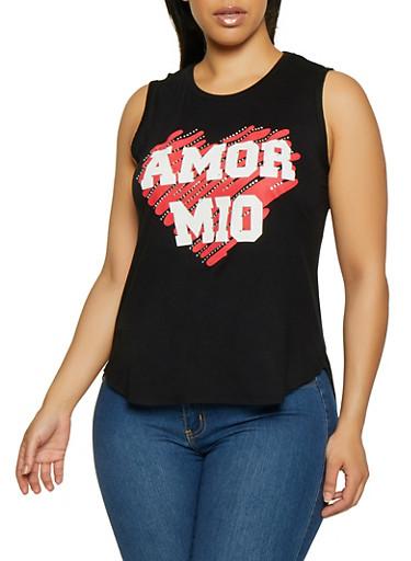 Plus Size Amor Mio Sleeveless Top,BLACK,large