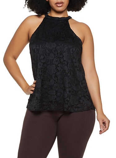 Plus Size Sleeveless High Neck Lace Top,BLACK,large