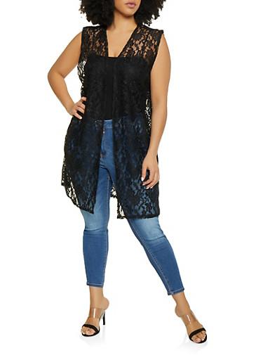 Plus Size Sleeveless Lace Duster,BLACK,large