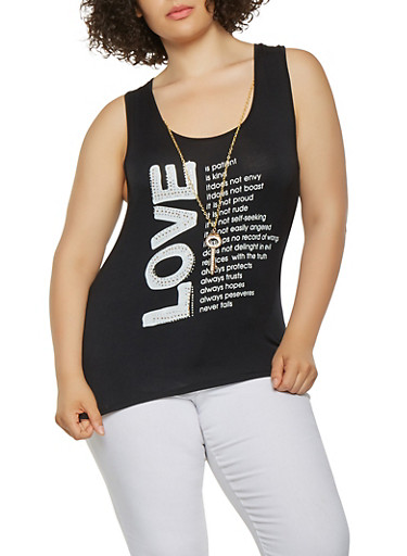 Plus Size Rhinestone Graphic Top with Necklace,BLACK,large