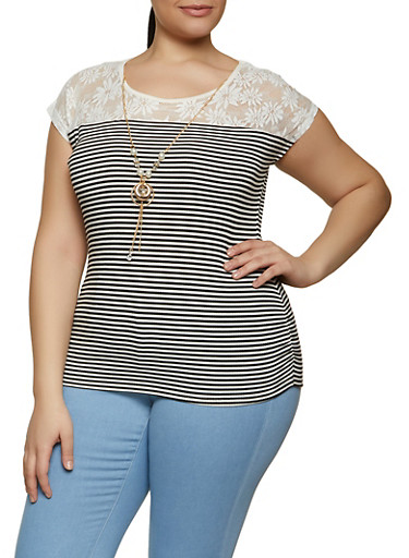Plus Size Ruched Lace Yoke Striped Top with Necklace,WHITE,large