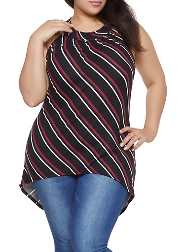 Plus Size Striped High Low Top,BLACK,large