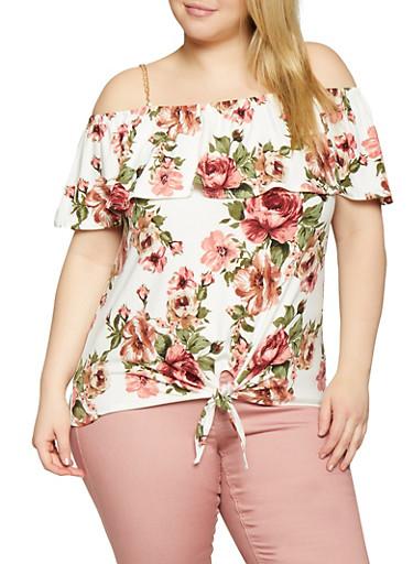 Plus Size Floral Cold Shoulder Chain Detail Top,IVORY,large