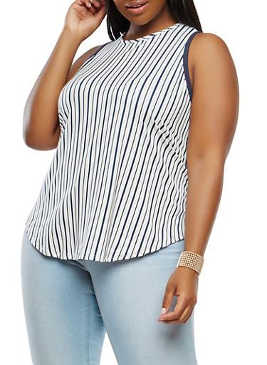 Plus Size Striped Soft Knit Tank Top,WHITE,large
