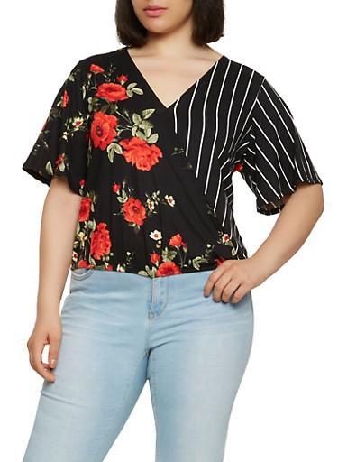 Plus Size Striped Floral Faux Wrap Top,BLACK,large