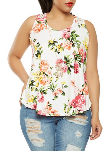 Plus Size Crochet Back Floral Tank Top,IVORY,large