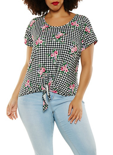 Plus Size Gingham Floral Tee,BLACK/WHITE,large