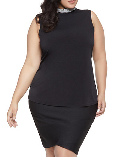Plus Size Faux Pearl and Rhinestone Neck Top,BLACK,large