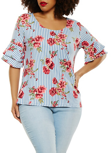 Plus Size Tiered Sleeve Top,NAVY,large