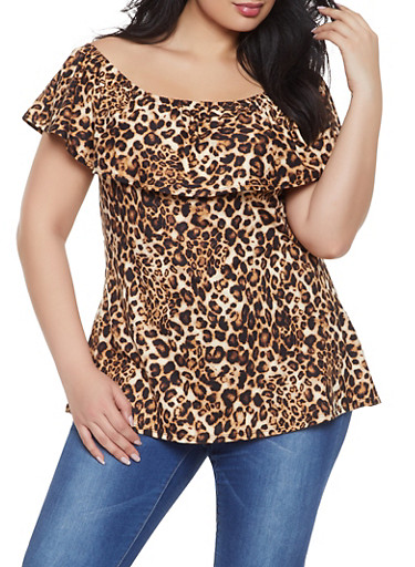 Plus Size Printed Off the Shoulder Top | 1910074012567,BROWN,large