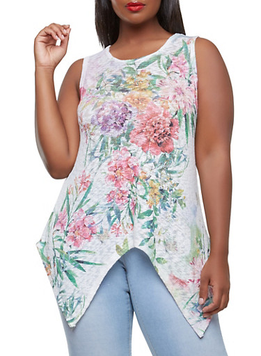 Plus Size Floral Knit Top,IVORY,large