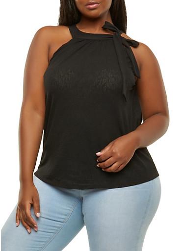 Plus Size Tie Strap Top,BLACK,large