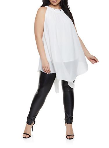 Plus Size Metallic Beaded Neck Tunic Top,WHITE,large