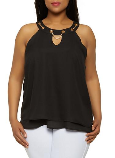 Plus Size Chain Threaded Neckline Sleeveless Top,BLACK,large