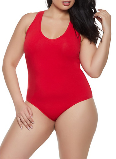 Plus Size Sleeveless Racerback Bodysuit,RED,large