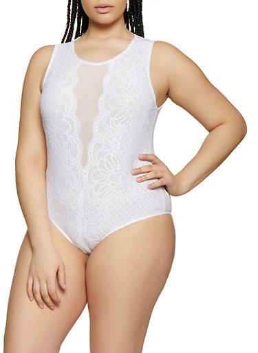Plus Size Sleeveless Lace Mesh Bodysuit,WHITE,large
