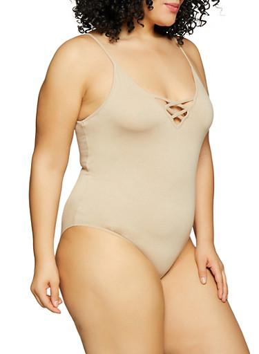 Plus Size Caged V Neck Bodysuit,BEIGE,large