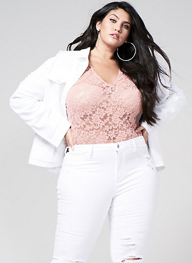 Plus Size Lace Bodysuit,MAUVE,large