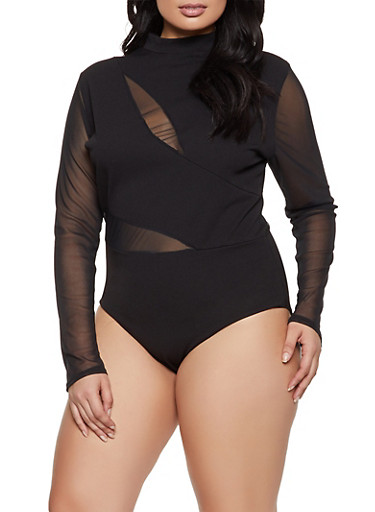 Plus Size Sheer Back Long Sleeve Bodysuit,BLACK,large